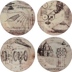 Set of 4 Leonardo Da Vinci Plates - Machines