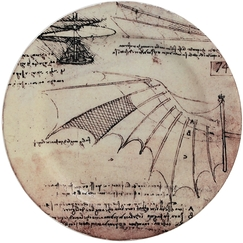 Leonardo Da Vinci Plate - Flying Machines
