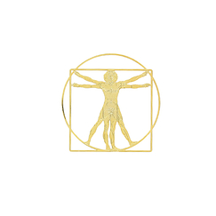 Magnetic Brooch Da Vinci - Vitruvian Man - Gold