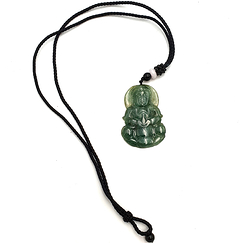 Jade Pendant - Large Buddha - Imperial green