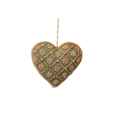 Teal Silk Heart with Gold Christmas Decoration