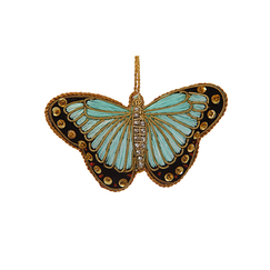 Turquoise Satin Butterfly Christmas Decoration