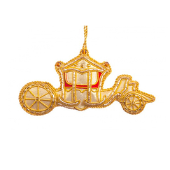 Small Gold Coach Christmas Decoration