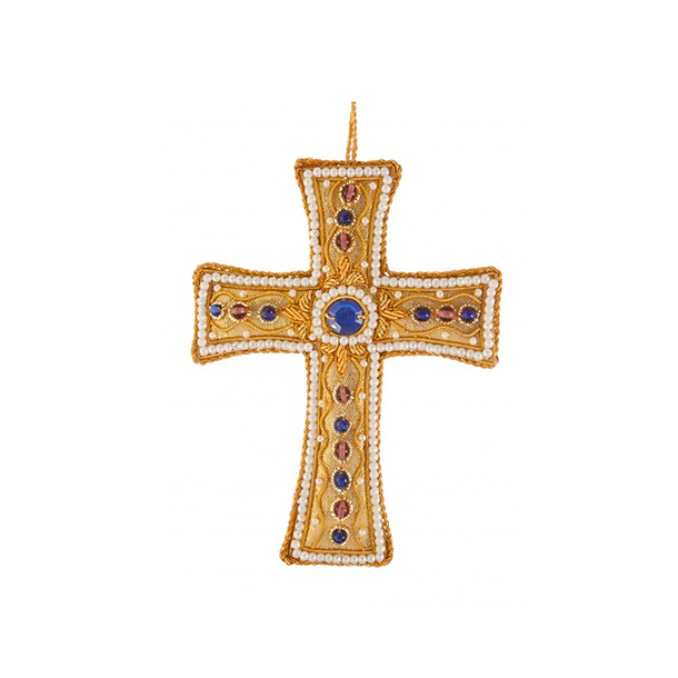 Gold Tissue Cross with Pearl Border Christmas Decoration