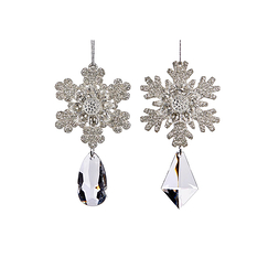 Christmas Decoration Snow Flakes with pendants - 2 pieces
