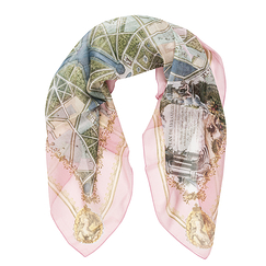 Plans of Versailles Silk square scarf - Brochier - Pink