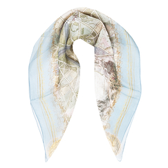 Plans of Versailles Silk square scarf - Brochier - Blue