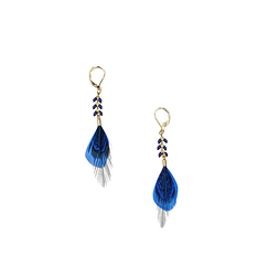 Blue Feather earrings - AnaGold