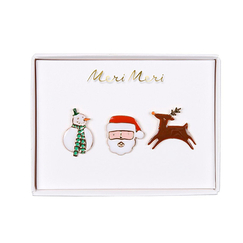 Set of 3 Christmas Character Enamel Pins - Meri-Meri