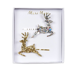 Set of 2 Glitter Reindeer Hair Slides - Meri-Meri