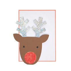 Sequin Nose Reindeer Christmas Card - Meri-Meri