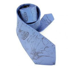Codex Leonardo da Vinci silk tie - Barbel blue