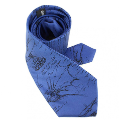 Codex Leonardo da Vinci Silk Tie - Dark blue