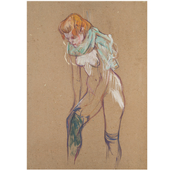Poster Lautrec Woman pulling her stocking