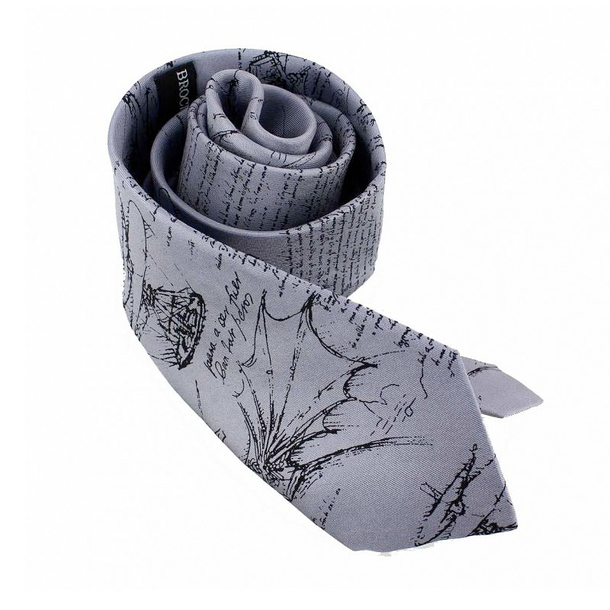 Codex Leonardo da Vinci silk tie - Grey