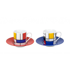 Set of 2 Espresso cups Hommage to Mondrian