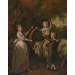Three Children of Richard Arkwright with a Goat