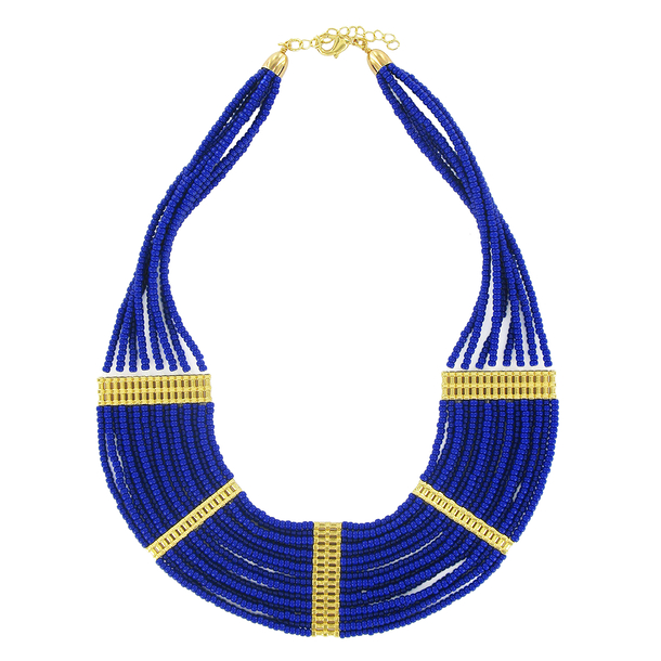 Necklace plastron Egypt with blue pearls