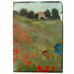 Claude Monet Clear File Poppy Field - A4