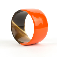 Broad orange lacquered Bracelet - L'Indochineur