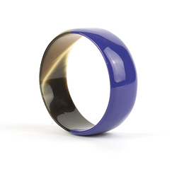 Indigo blue lacquered Flat bracelet in horn - L'Indochineur