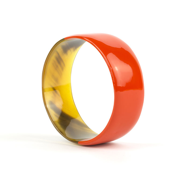 Orange lacquered Flat bracelet in horn - L'Indochineur
