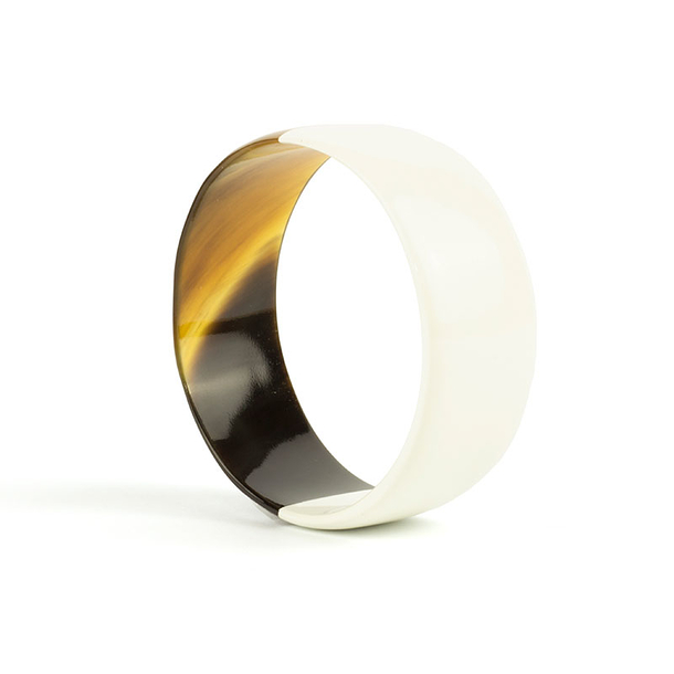 Ivory lacquered flat bracelet - L'Indochineur
