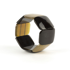 Articulated bracelet in marbled black and blond horn - L'Indochineur