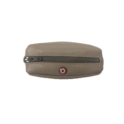 Purse Charles - Grained Leather Taupe Grey - Larmorie