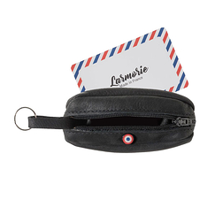 Purse Charles - Nubuck Leather Black - Larmorie