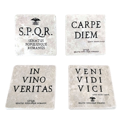 Set of 4 Coasters Latin Quotations - Studio Vertu Europe