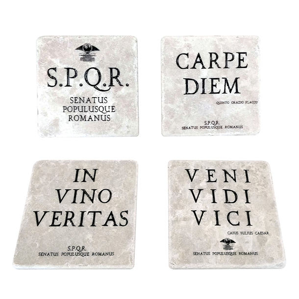 Lot de 4 Dessous de verre Citations romaines - Studio Vertu Europe