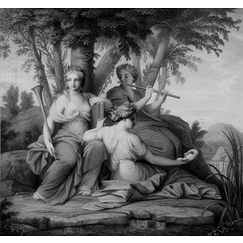 The muses Clio, Euterpe and Thalie
