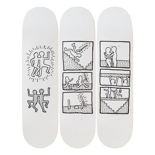 Skateboards triptyque Keith Haring Untitled 1981 - The Skateroom
