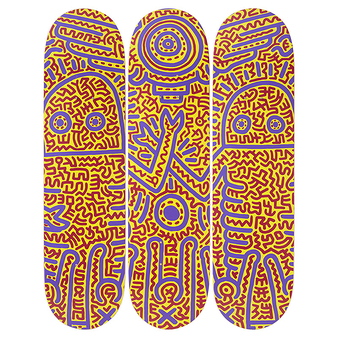 Skateboards triptyque Keith Haring Untitled 1984 - The Skateroom