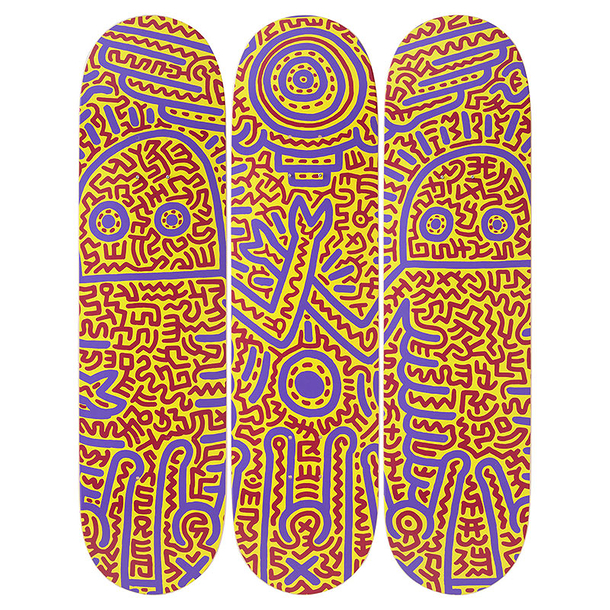 Skateboards Triptych Keith Haring Untitled 1984 - The Skateroom