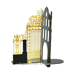 Gate of the Court of Honour Bookend - Matt black / Gold - Left