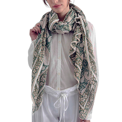 Blockprint Paisley stole - Green country - Zen Ethic