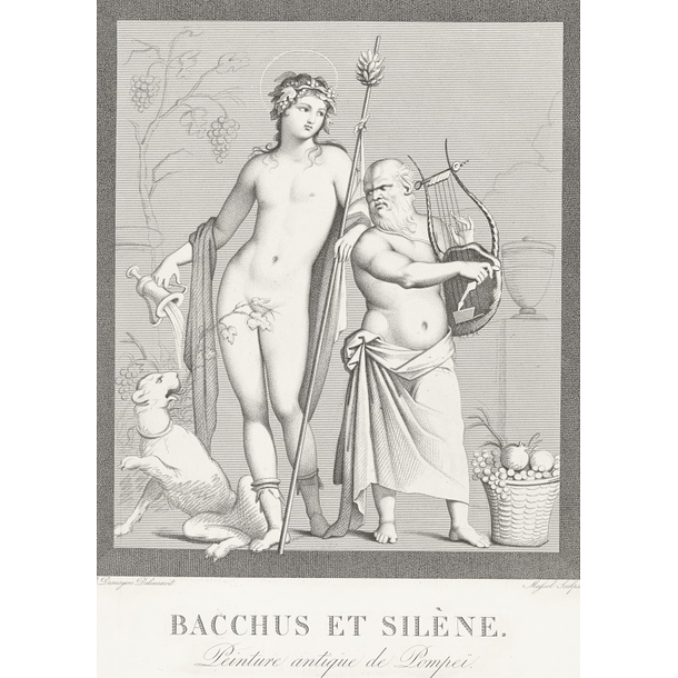 Bacchus and Silene, antique painting from Pompeï - Boucher-Desnoyer