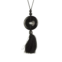 Disc and charm Pendant in black horn