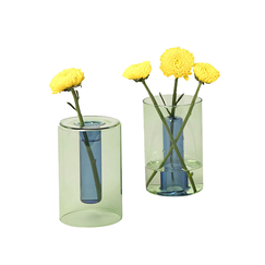 Small Reversible Vase Green/Blue - Block Design