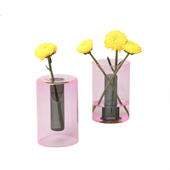 Small Reversible Vase Pink/Green - Block Design