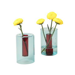 Small Reversible Vase Blue/Red - Block Design