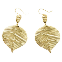 Earrings large poplar leaves