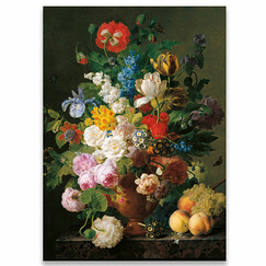 Jan Frans van Dael - Vase of Flowers, Grapes and Peaches Poster