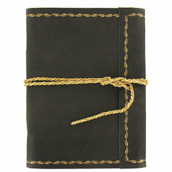 Large rolled leather notebook with cord - 48 pages - Napoleon frieze print