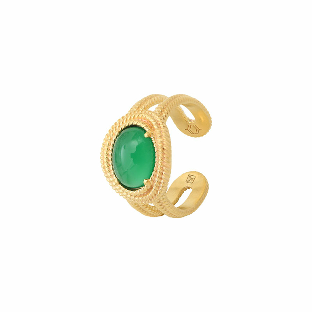 Demeter Ring - Green agate - Collection Constance