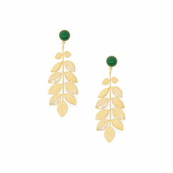 Athena Earrings - Green agate - Collection Constance