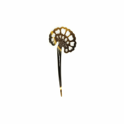 Peacock tail-shaped Hairpick - Blond horn