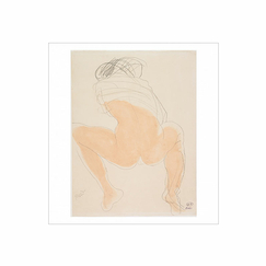 Reproduction Auguste Rodin - Woman squatting seen from the back, one garment on her shoulders